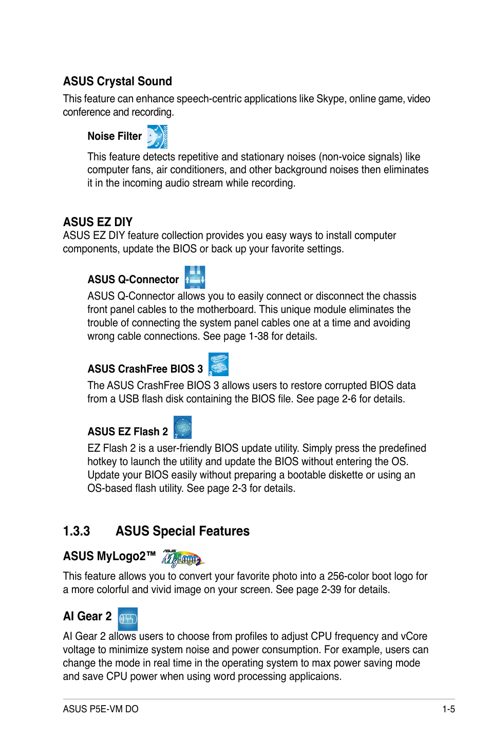3 asus special features | Asus P5E-VM DO User Manual | Page 17 / 104