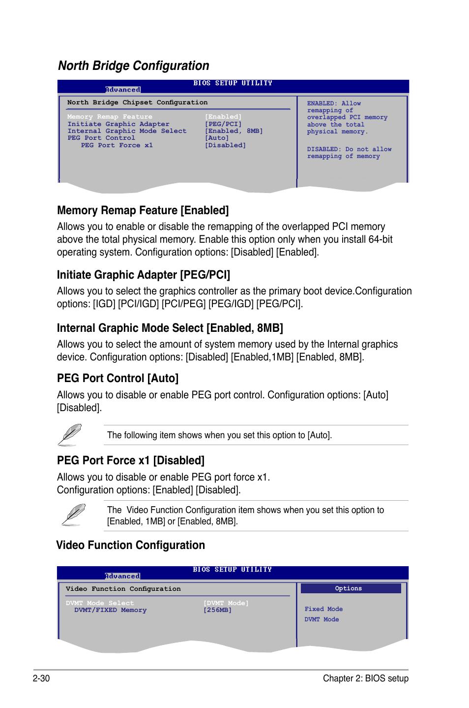 North bridge configuration, Video function configuration, Peg port