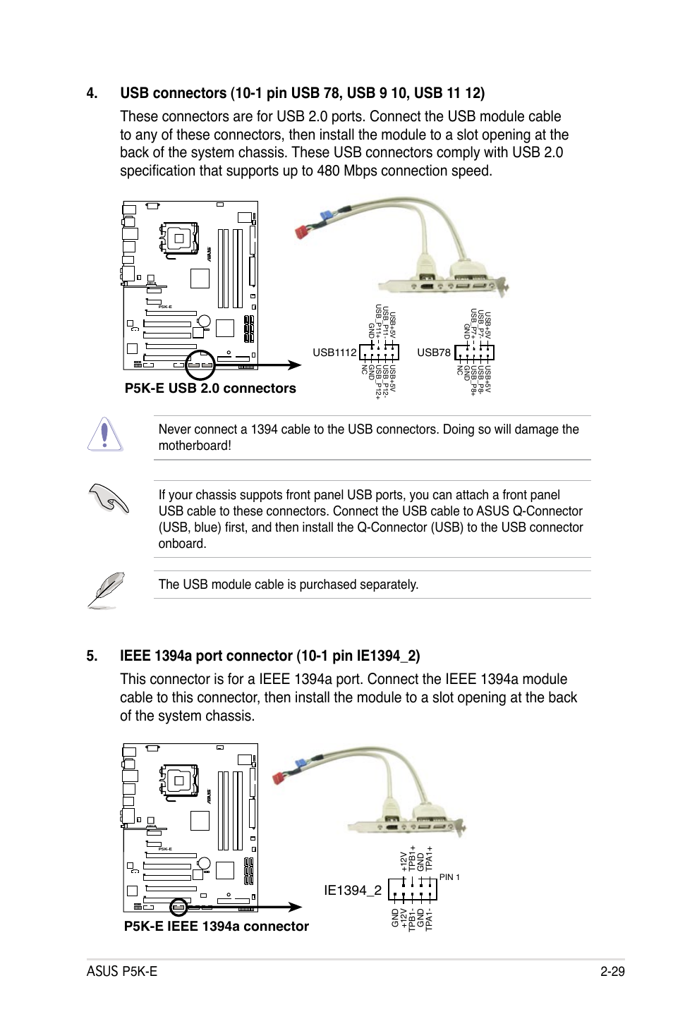 Asus P5k E 2 29 Usb 20 Connectors Wifi Ap User Front Panel Wiring Diagram Manual Page 55 172