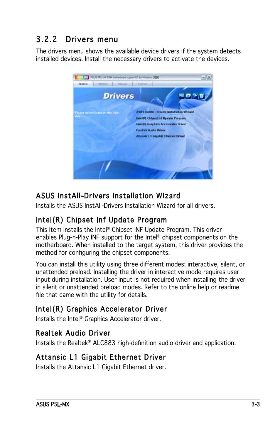 2 drivers menu, Asus install-drivers installation wizard