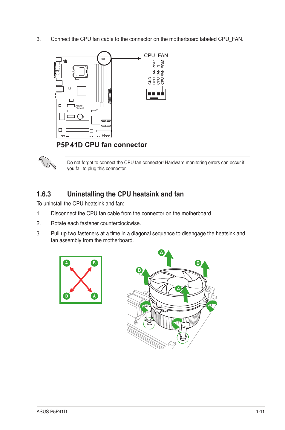 3 Uninstalling The Cpu Heatsink And Fan Labeled Motherboard Diagram 11 Asus P5p41d User Manual Page 21 58