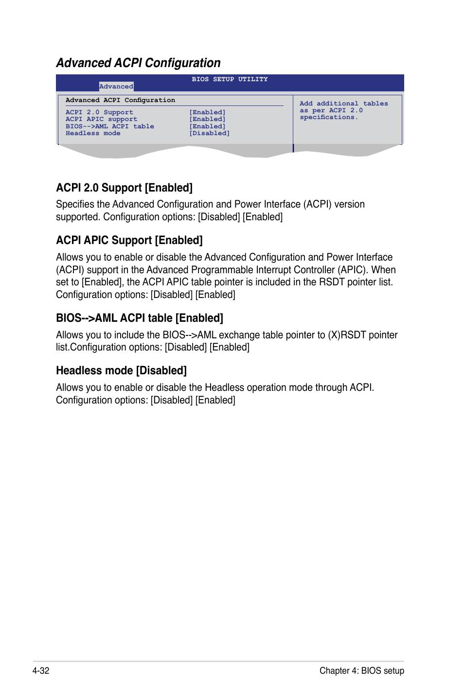 Advanced acpi configuration, Acpi 2 0 support [enabled, Acpi