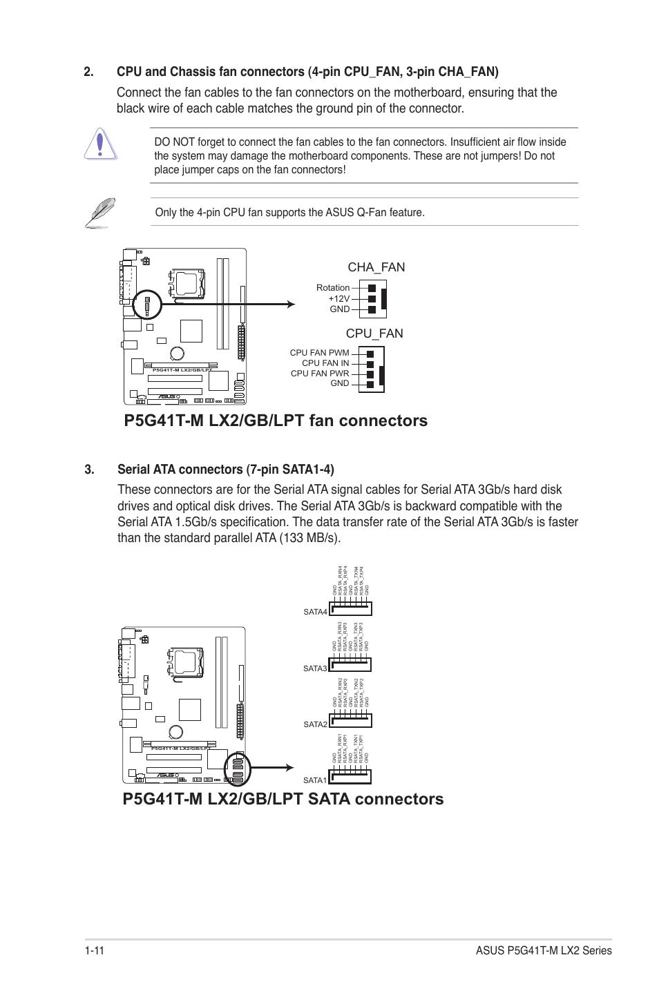 P5g41t Gb  Lpt Fan Connectors  P5g41t Gb  Lpt