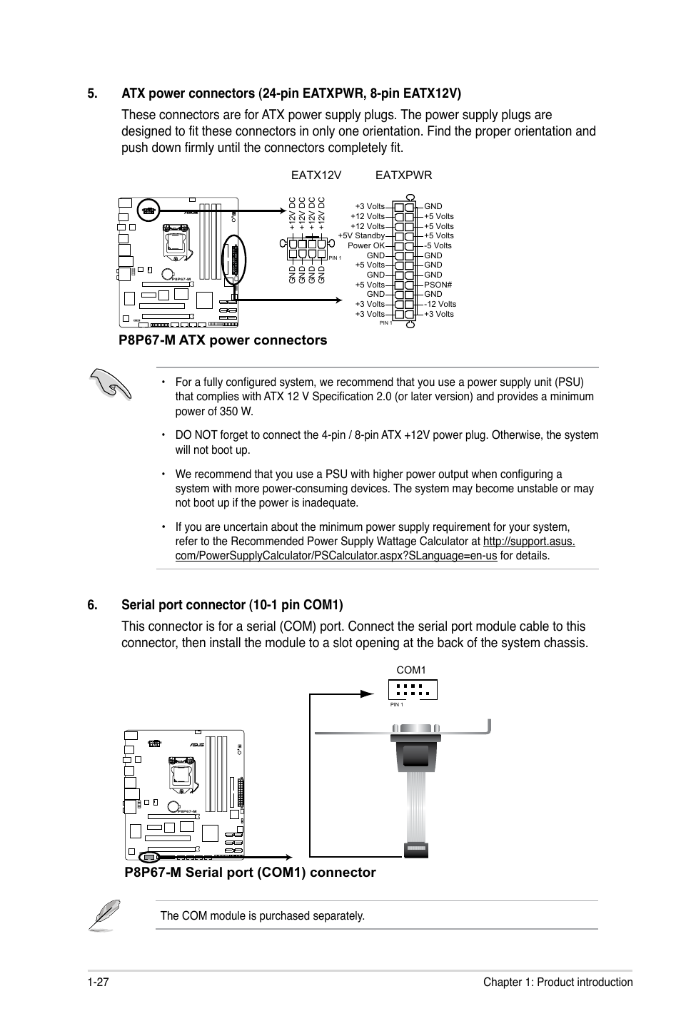 P8p67 M Atx Power Connectors Serial Port Com1 Connector Supply Pin Out Asus User Manual Page 39 80