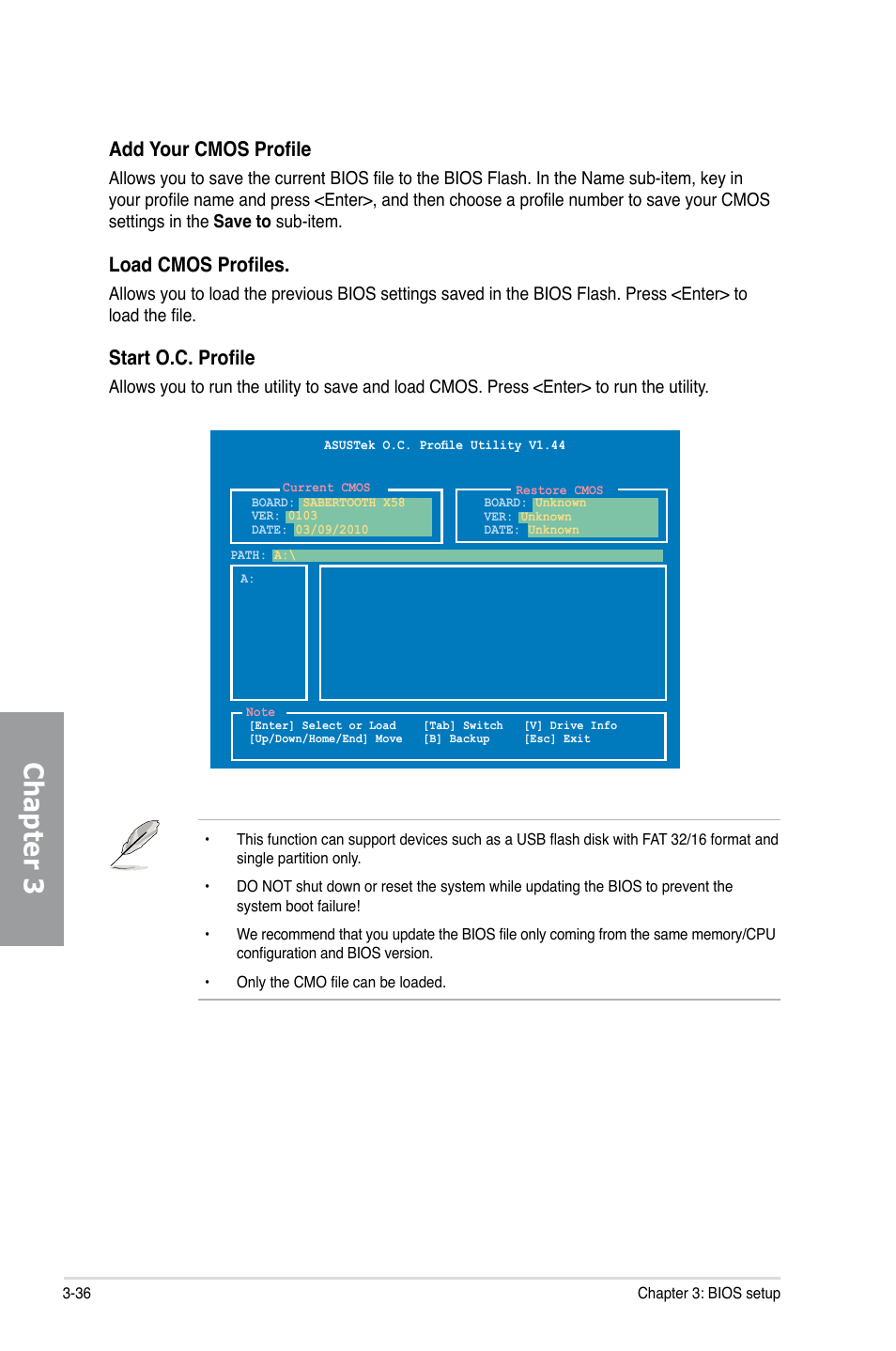 Chapter 3, Add your cmos profile, Load cmos profiles | Asus