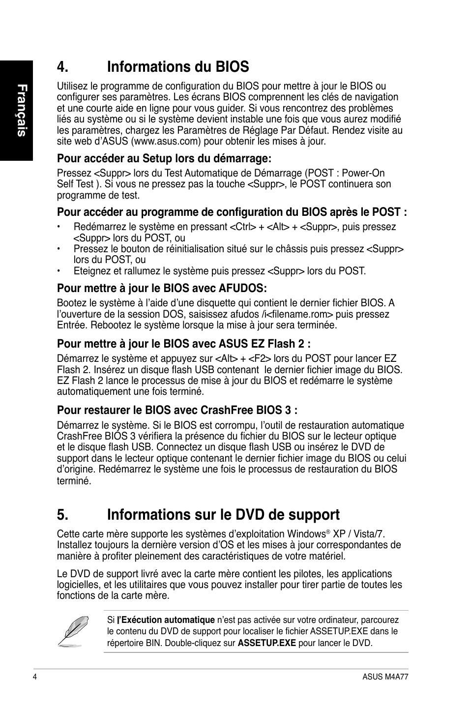 pilote carte mere asus Informations du bios, Informations sur le dvd de support, Français