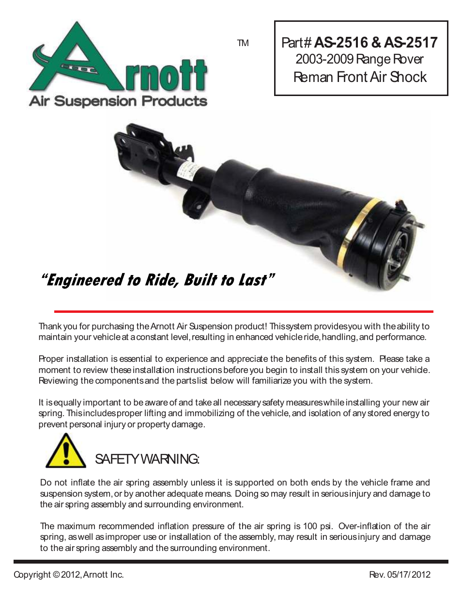 Air Suspension AS-2516 User Manual | 4 pages