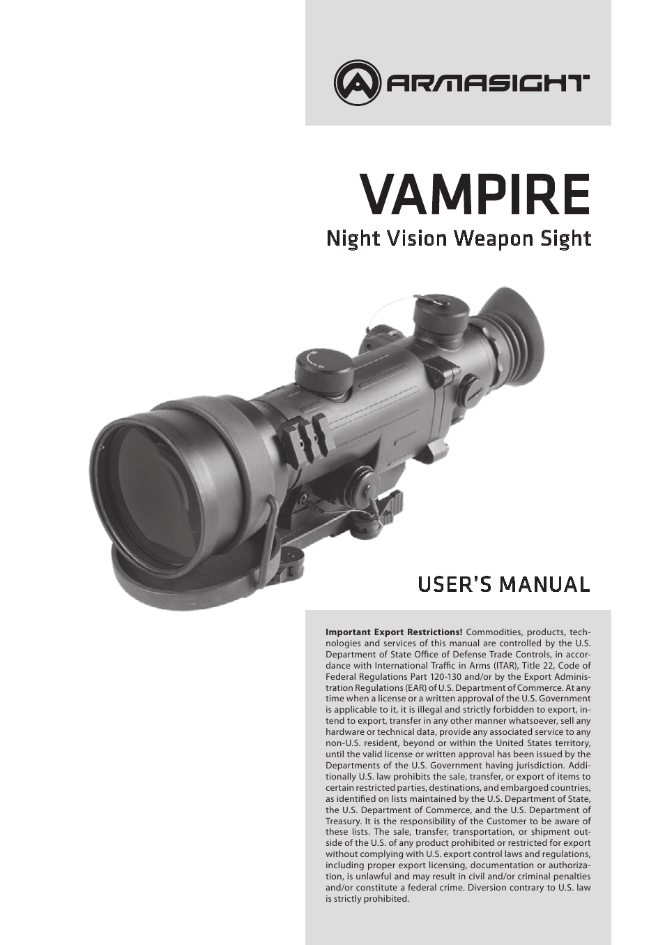 Armasight nmwvampir3ccic1 vampire 3x core iit night vision rifle armasight nmwvampir3ccic1 vampire 3x core iit night vision rifle scope user manual 12 pages asfbconference2016 Images