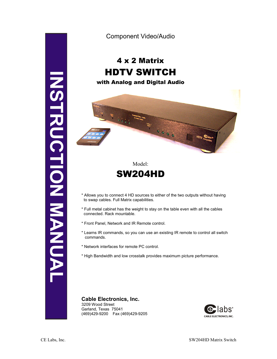 Ce Labs Sw204hd Owners Manual