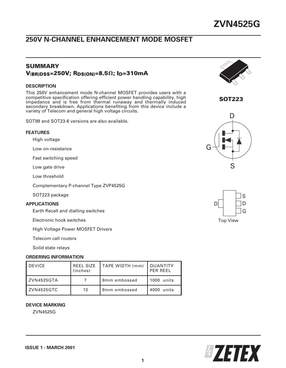 Diodes Zvn4525g User Manual 8 Pages Solid State Relay Mosfet
