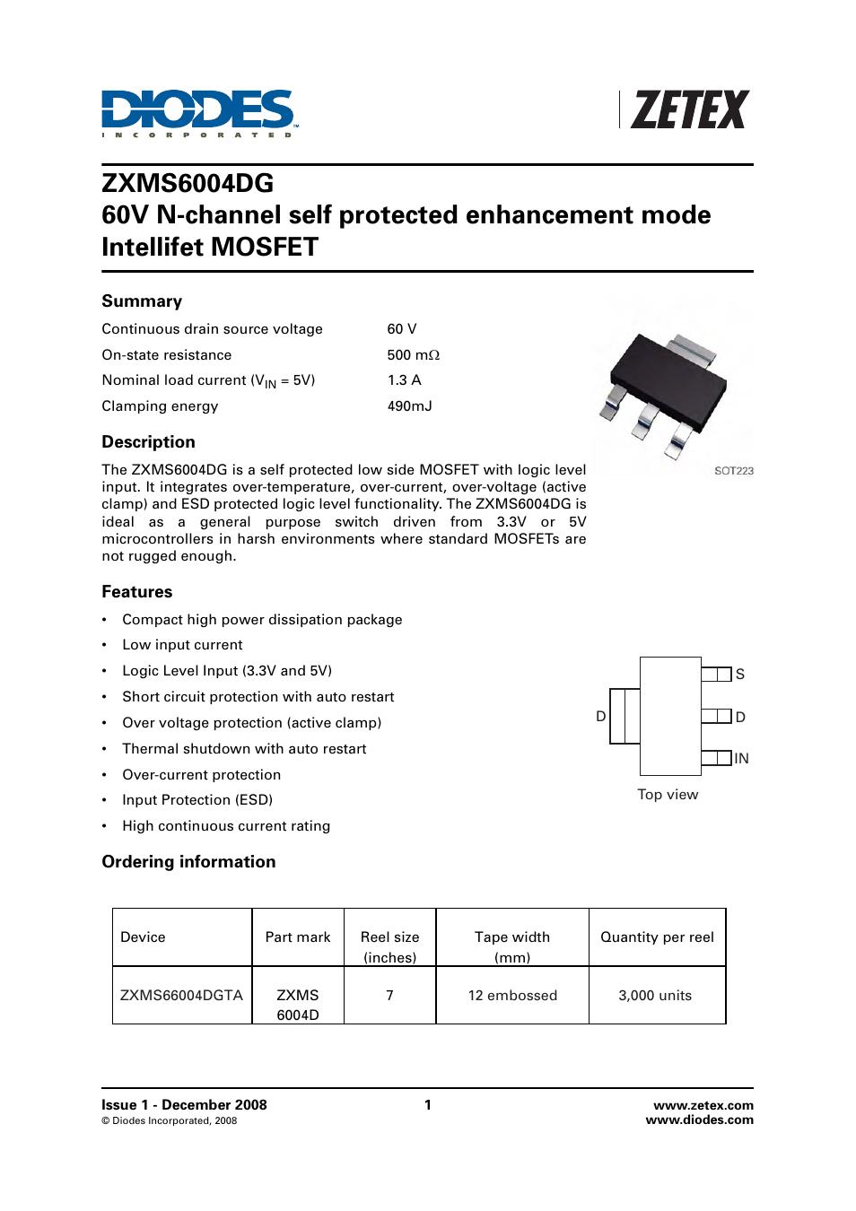 Diodes Zxms6004dg User Manual 10 Pages Logic Overvoltage Protection