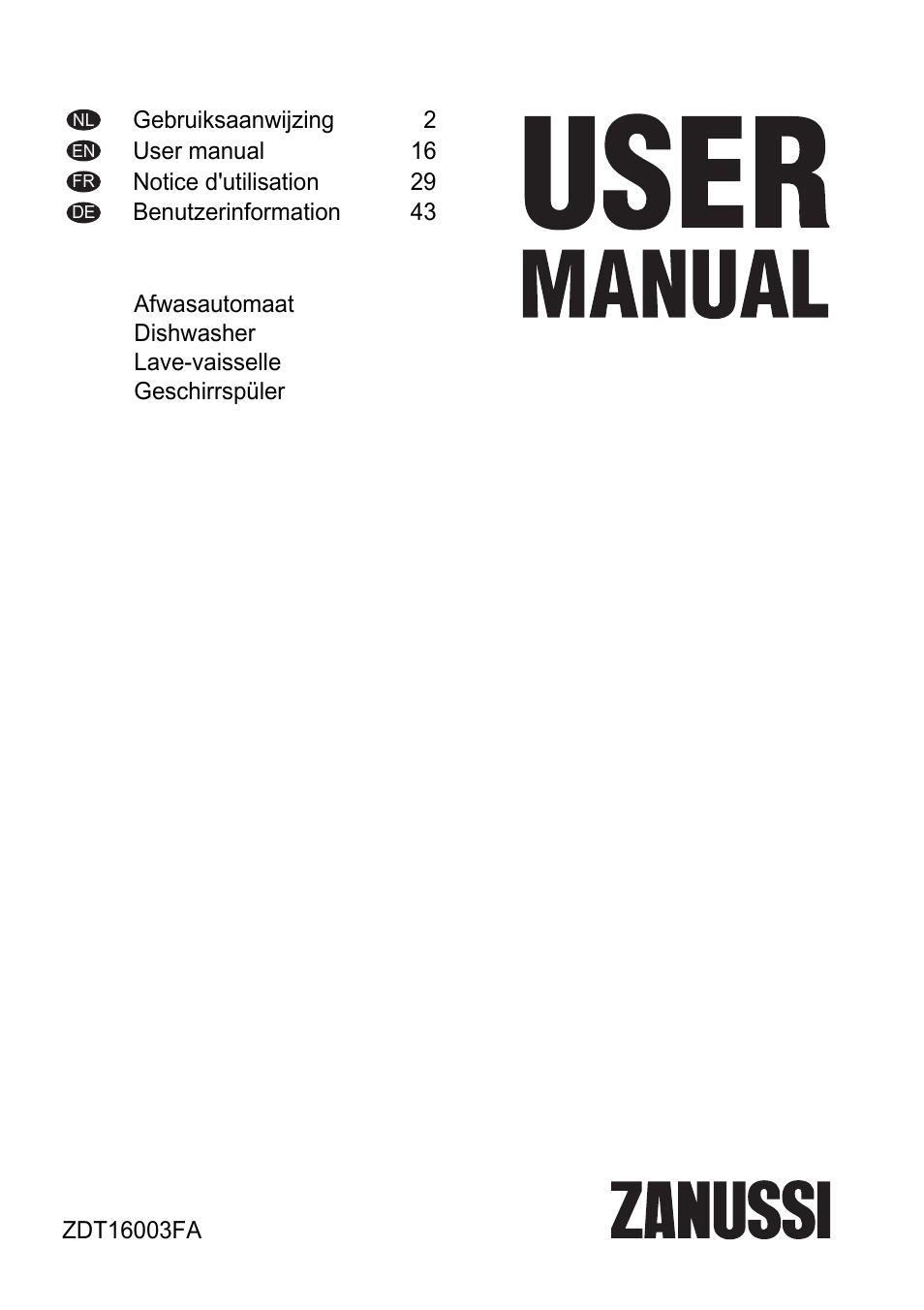 zanussi zdt16003fa user manual 60 pages rh manualsdir com zanussi dishwasher zdt21001fa user manual zanussi integrated dishwasher user manual