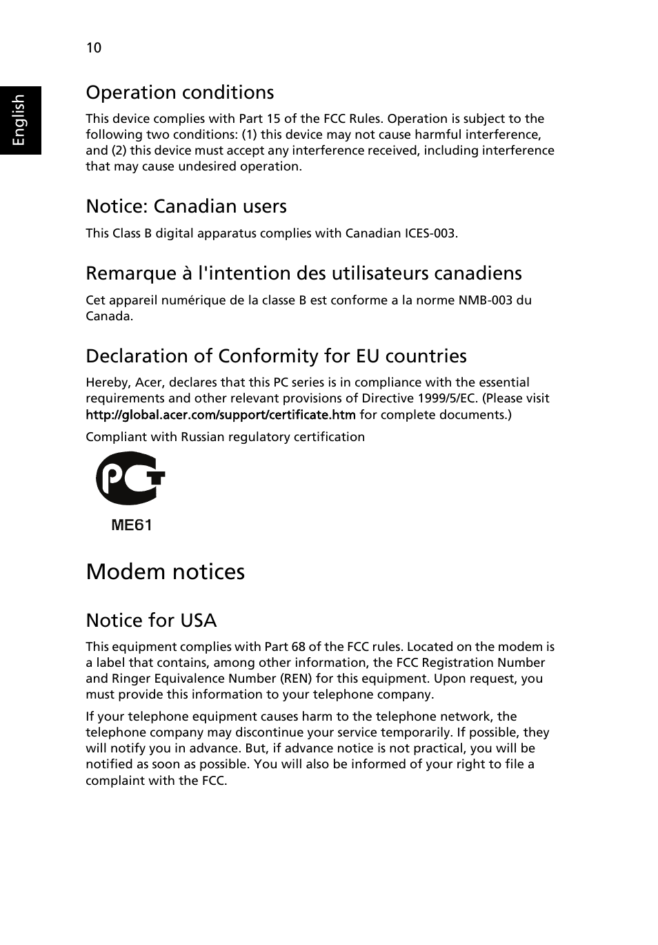 modem notices operation conditions notice canadian users acer rh manualsdir com Aspire One Charger Aspire One Keyboard