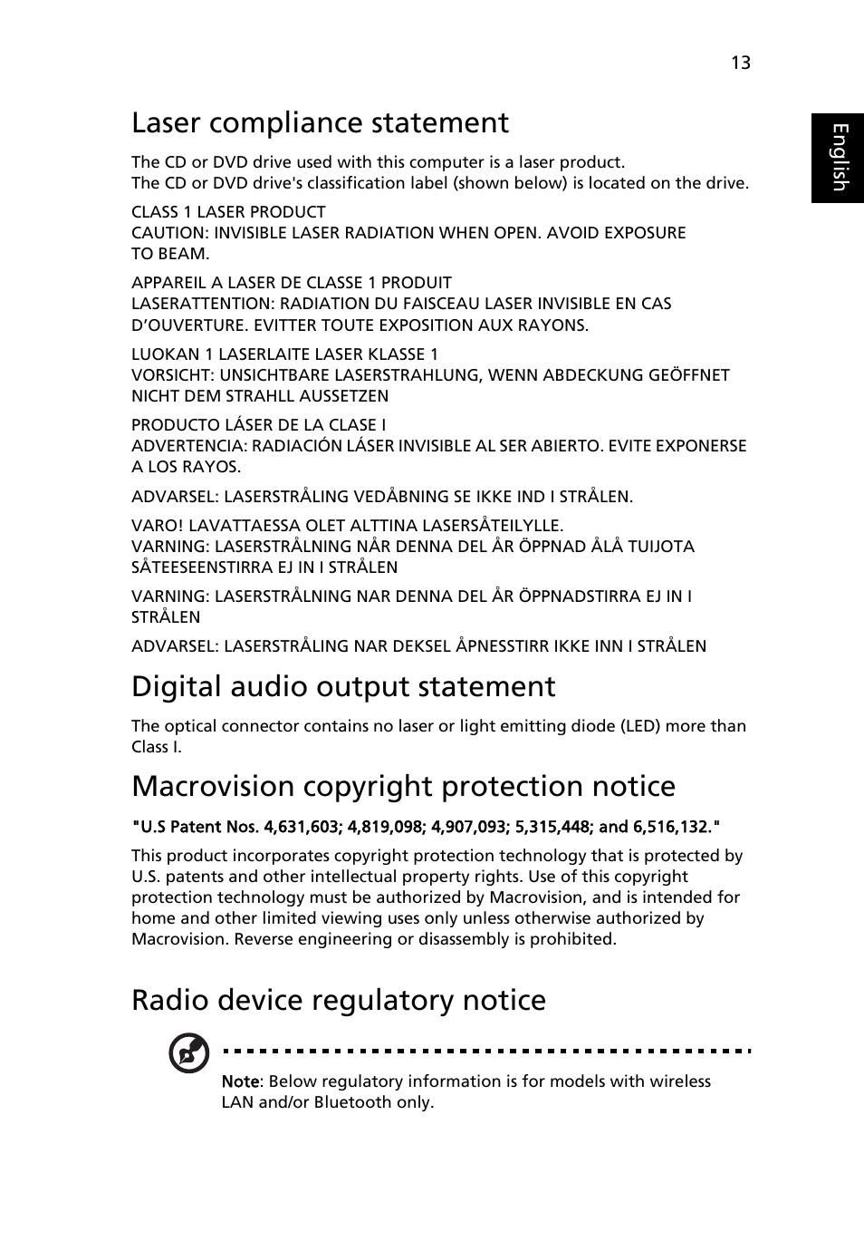 laser compliance statement digital audio output statement rh manualsdir com Aspire Logo Aspire One Netbook