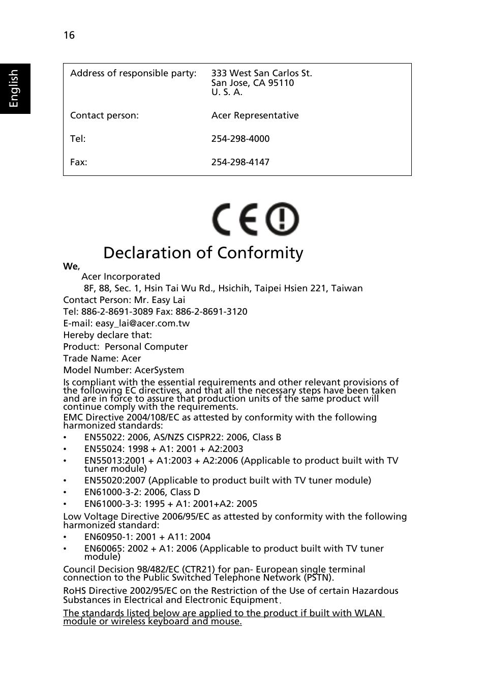 declaration of conformity english acer acersystem user guide rh manualsdir com Aspire One Charger Aspire One Netbook