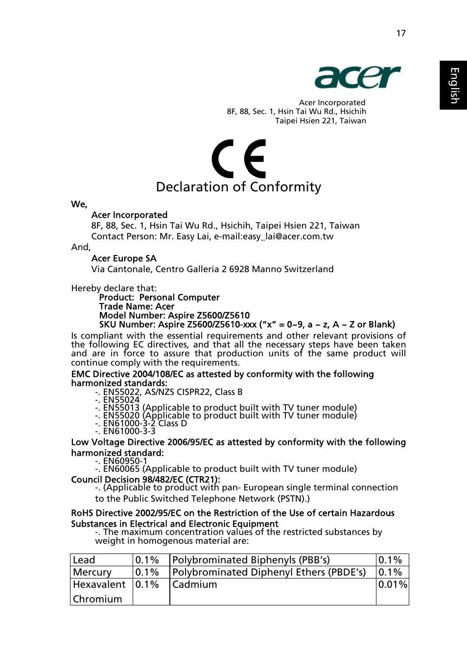 declaration of conformity acer aspire z5610 user manual page 27 rh manualsdir com acer aspire z5610 service manual pdf acer aspire z5600 manual pdf