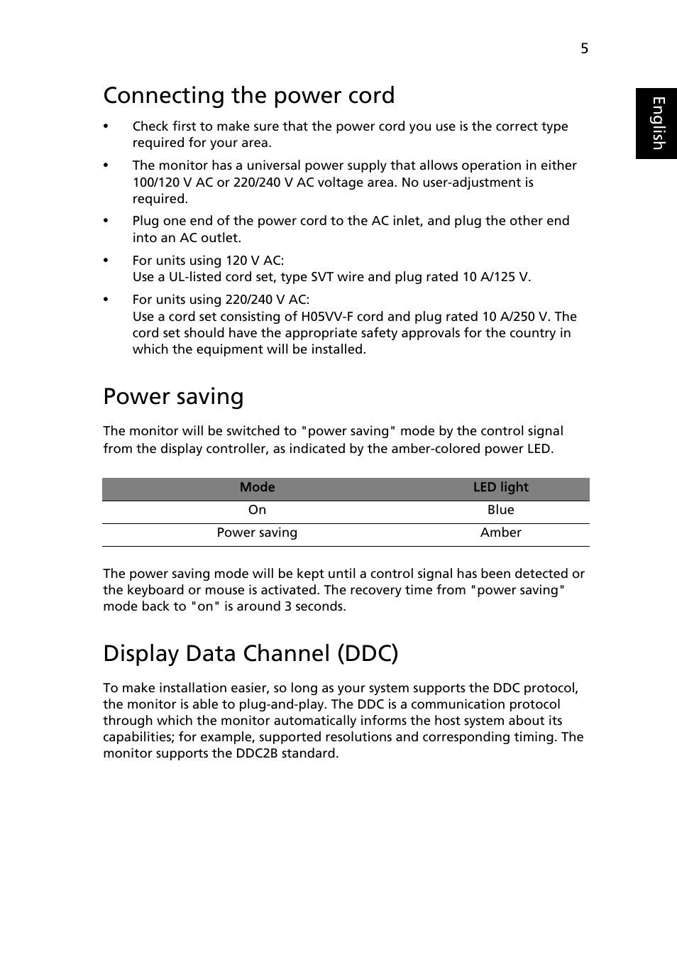 Connecting The Power Cord Saving Display Data Channel Ddc Voltage Monitor Which Uses A Led To Show Status Of Supply Acer K202hql User Manual Page 15 27