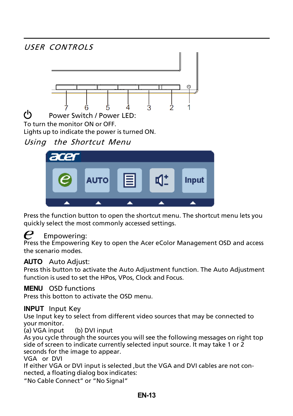 user controls   shortcut menu acer khql user
