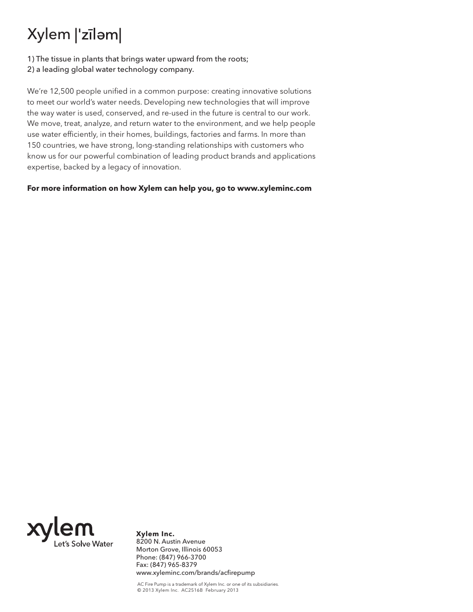 Xylem | Xylem 1580 Series In-Line Mounted Centrifugal Fire