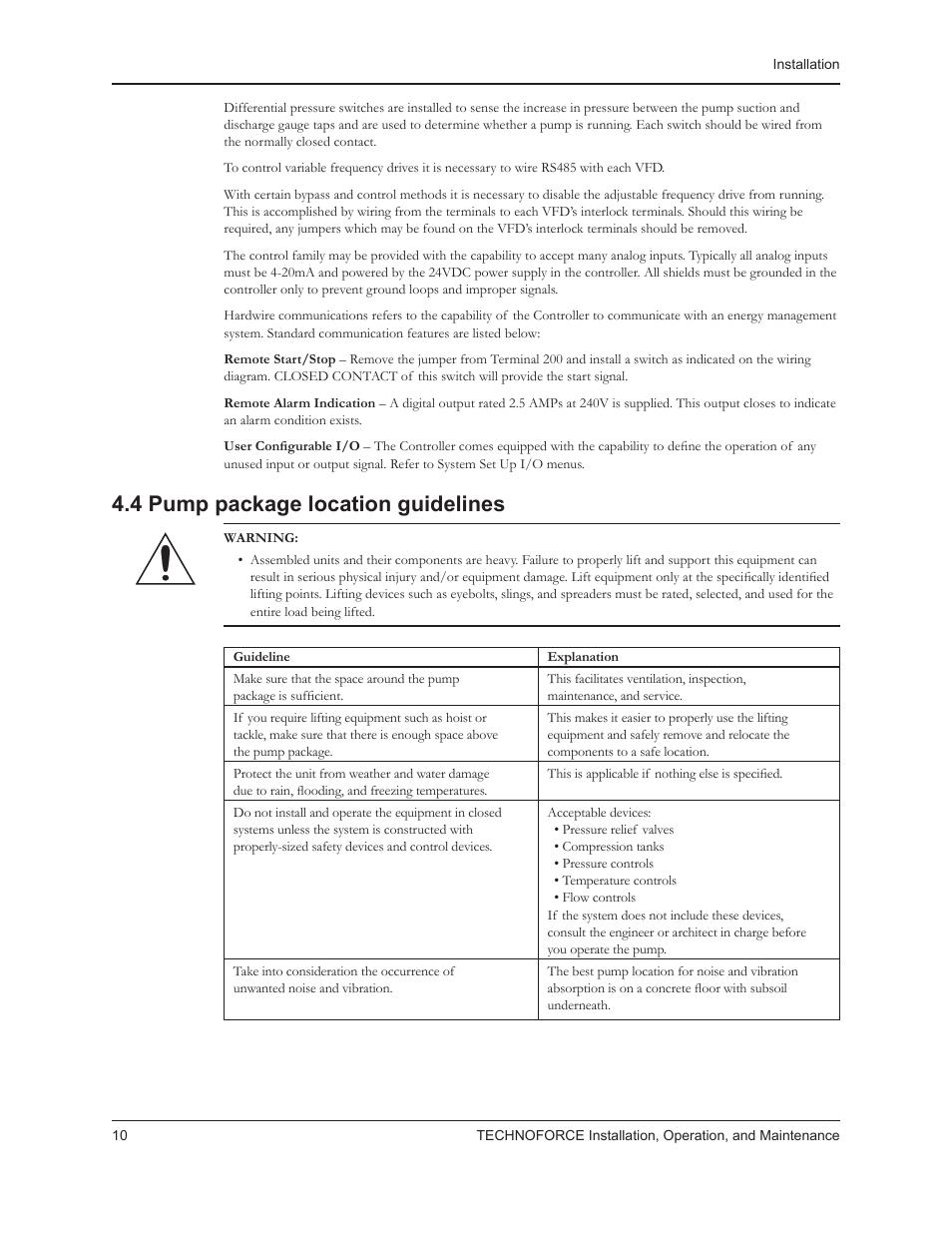 4 pump package location guidelines | Bell & Gossett 10 001 265R5  TechnoForce Pump Controller User
