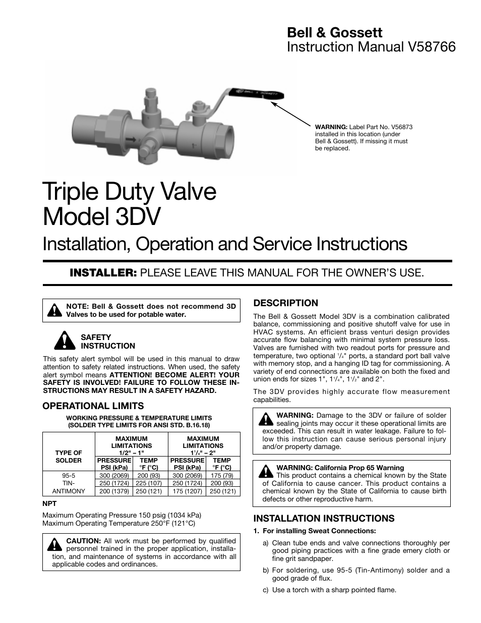 Triple Duty Valve Symbol Diagram Electrical Wiring Diagrams Piping Bell Gossett V58766 Model 3dv User Manual 2 Pages Check