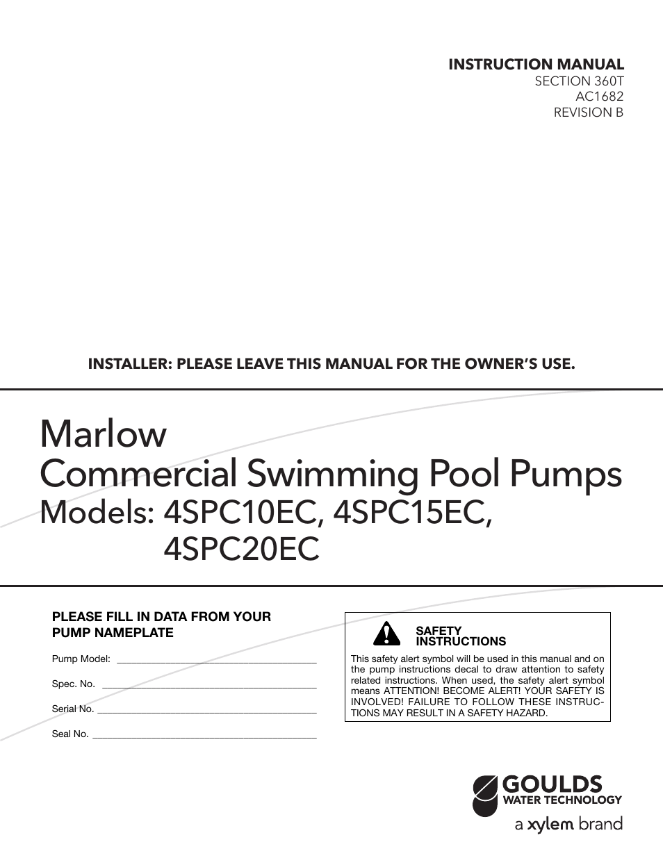 Xylem AC1682B Marlow Series Commercial Swimming Pool Pumps User Manual | 8  pages