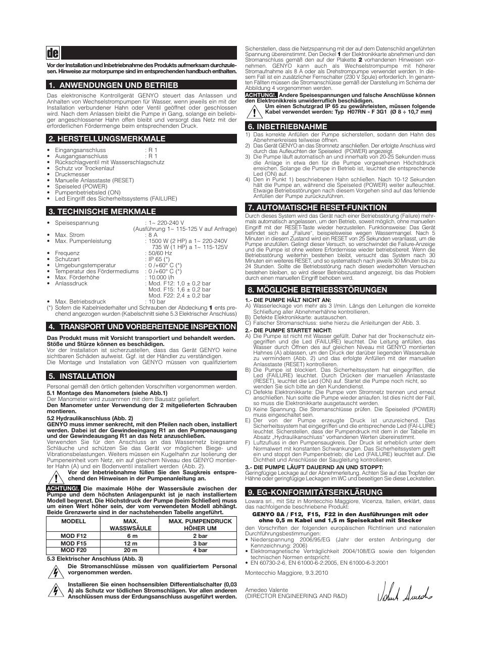 Xylem GENYO 8A / F12 F15 F22 User Manual | Page 7 / 20