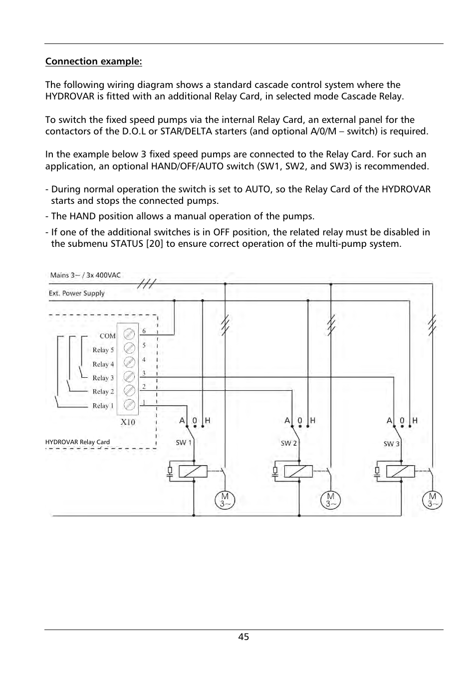 Hand Off Auto Switch Pump Wiring Diagram Car Electric Fan Xylem Hydrovar Hv 4150 4185 4220 User Manual Page 45 104 On