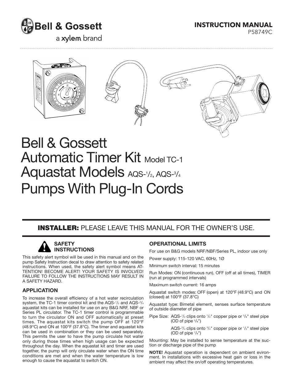 bell gossett p58749c aqs 3 4 aquastat user manual 4 pages bell gossett p58749c aqs 3 4 aquastat user manual 4 pages also for tc 1 automatic timer kit p58749c aqs 1 2 aquastat