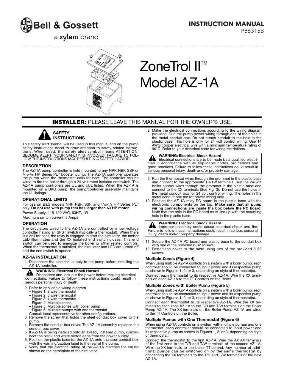 bell gossett p86315b zonetrol ii az 1a user manual 2 pages