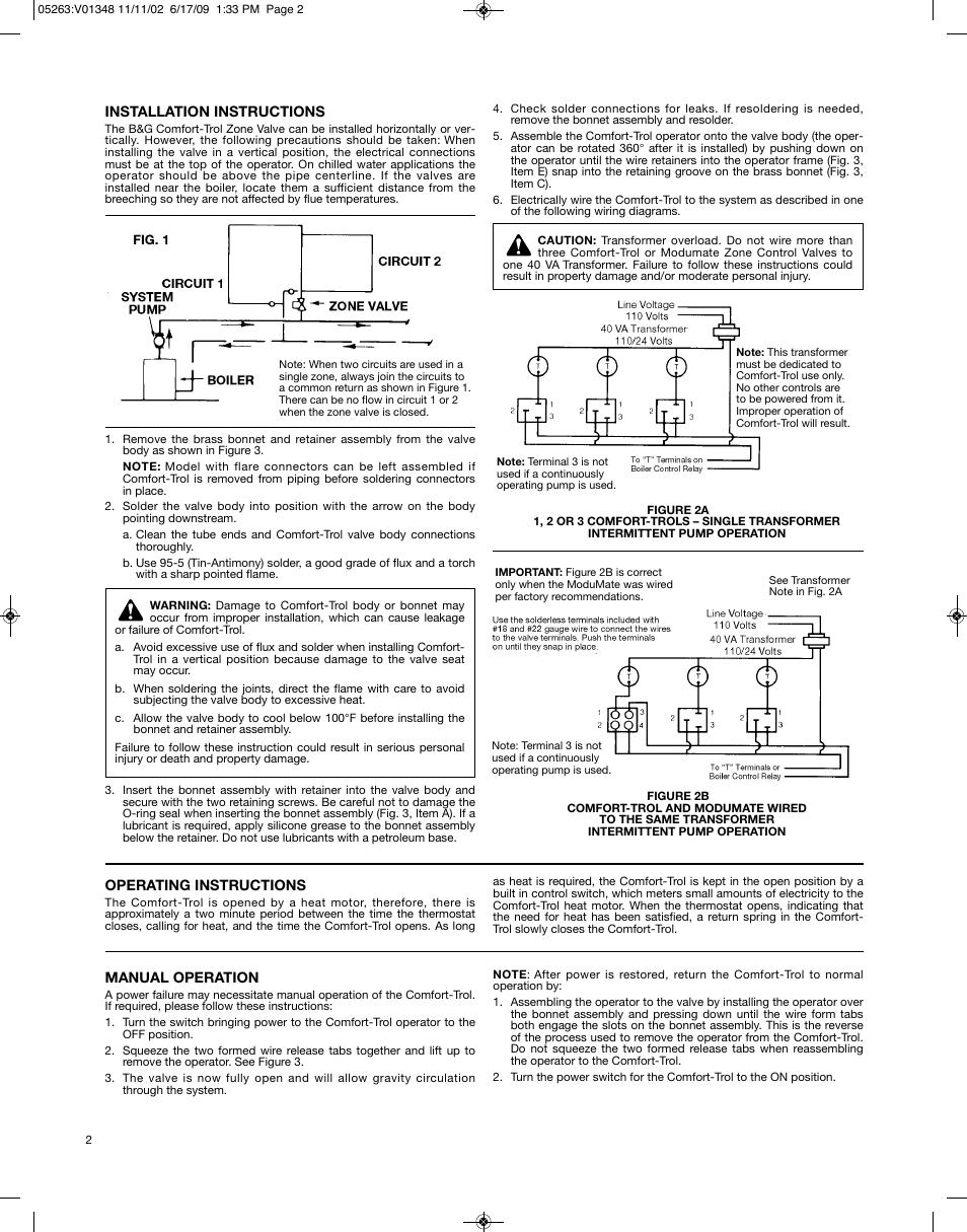 Bell  U0026 Gossett V01348h Comfort Trol Zone Control Valve User Manual