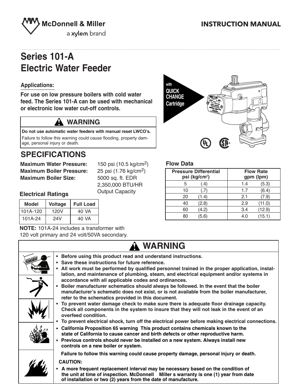 Xylem MM 307H Series 101-A Electric Water Feeder User Manual