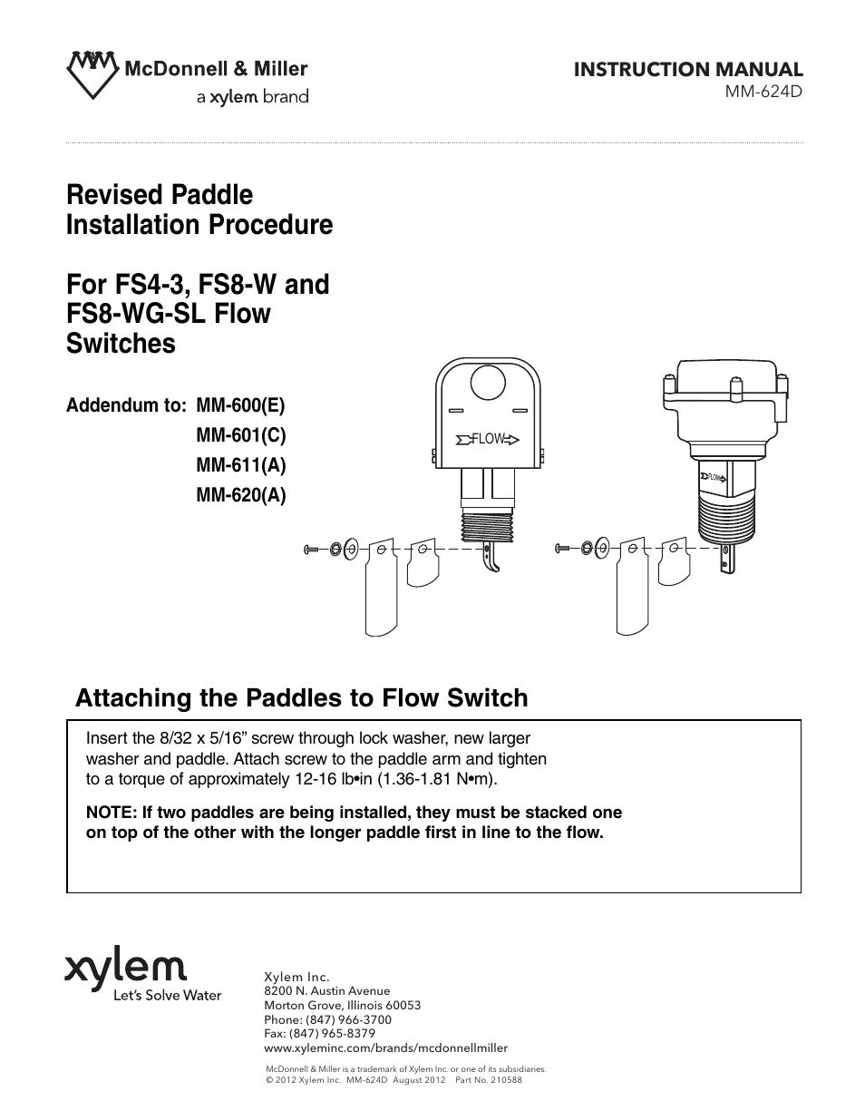 Xylem Mm 624d Paddle Installation Procedure For Fs4 3 Fs8 W  U0026 Fs8 Wg Sl Flow Switches User