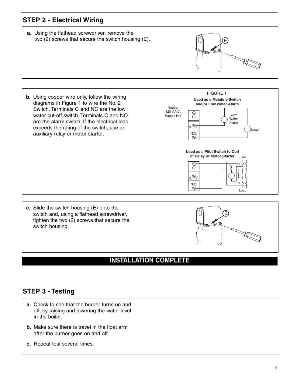 Mcdonnell & miller, Maintenance, Step 4 - switch adjustment | Xylem on