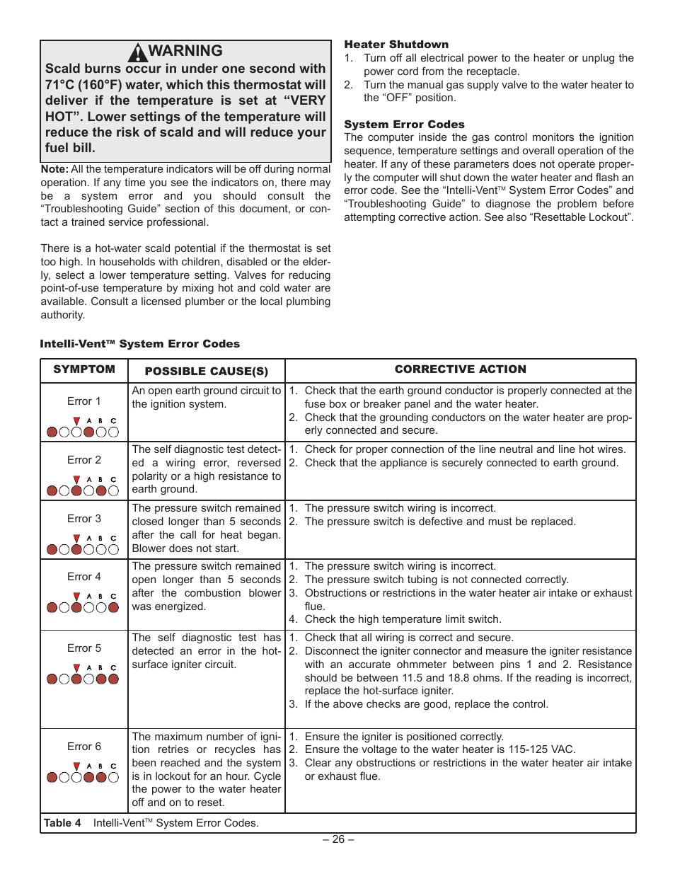 Warning | John Wood Superflue Power Vent (75 Gallon) User Manual | Page 26  / 38