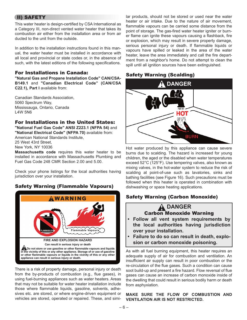 Danger, Warning | John Wood Superflue Power Vent (75 Gallon) User ...