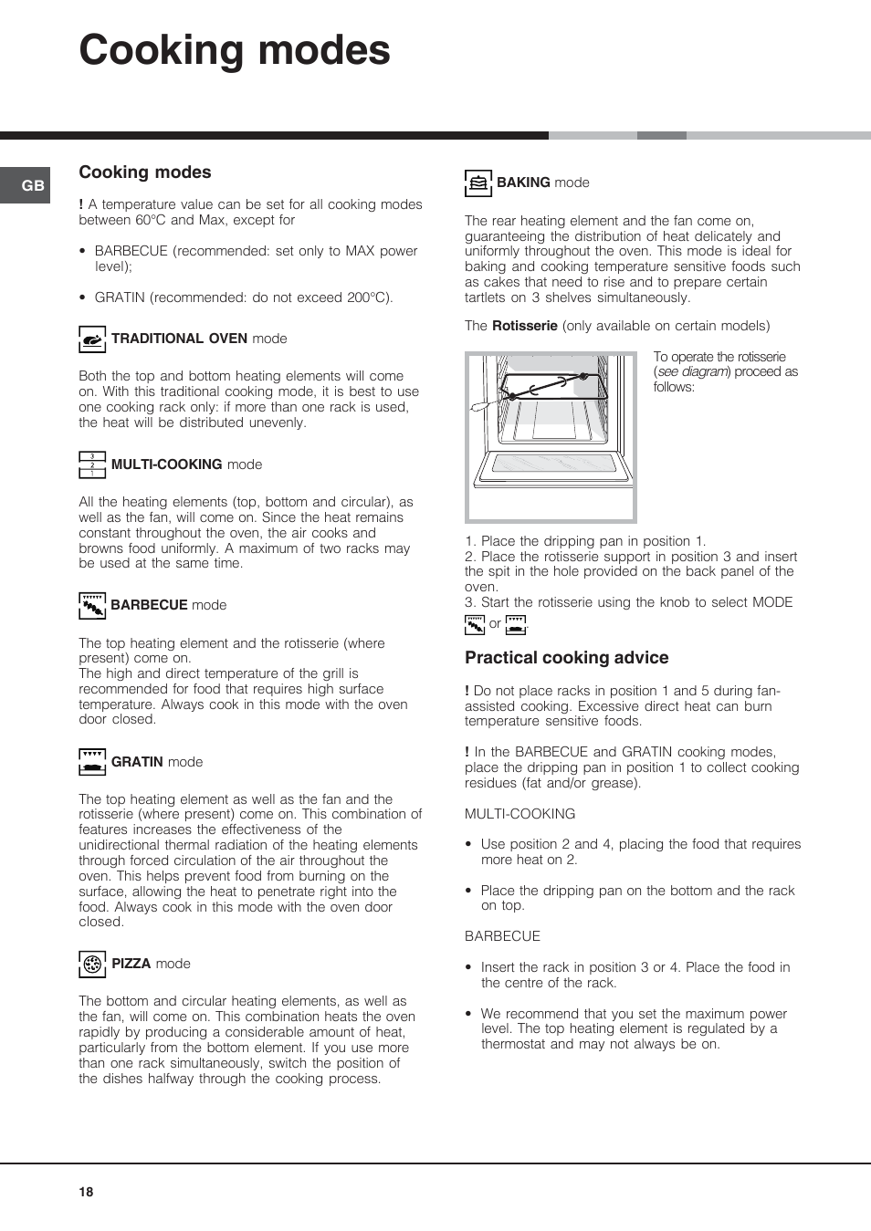 Cooking Modes Practical Cooking Advice Hotpoint Ariston Diamond