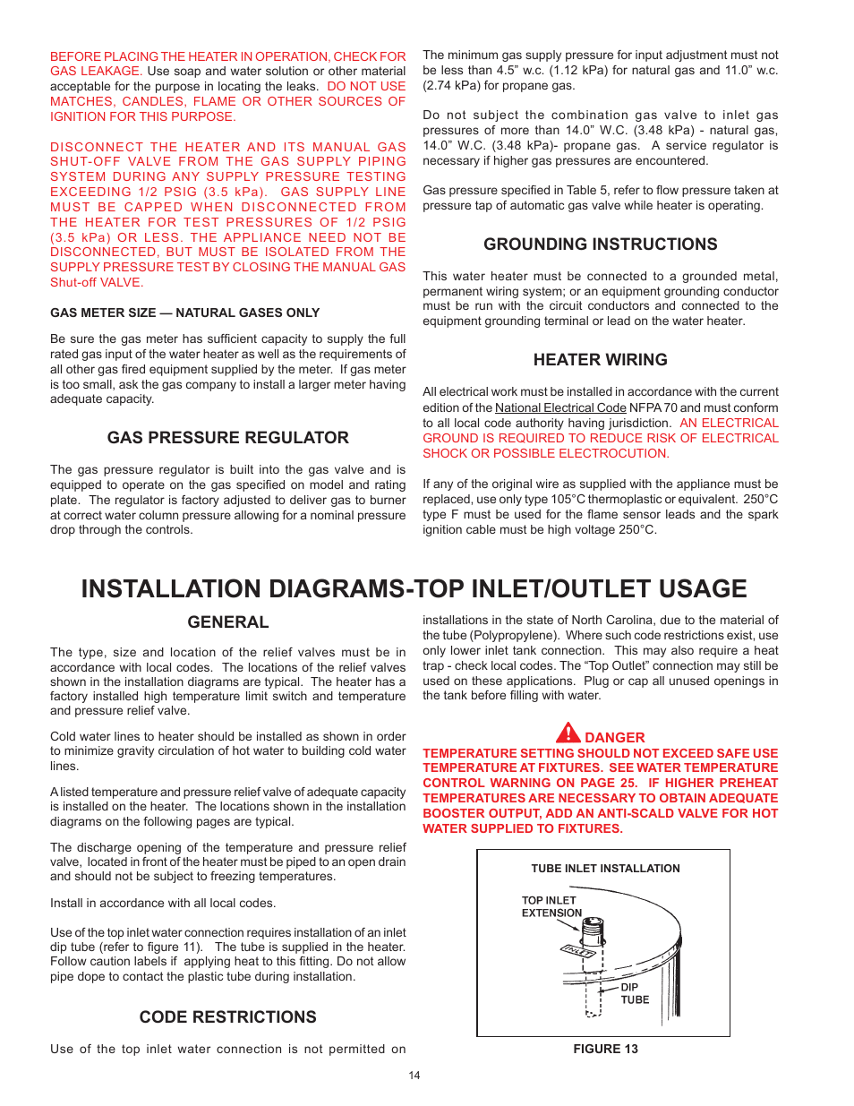 john wood commercial atmospheric vent ajwsm page14 installation diagrams top inlet outlet usage, general, code