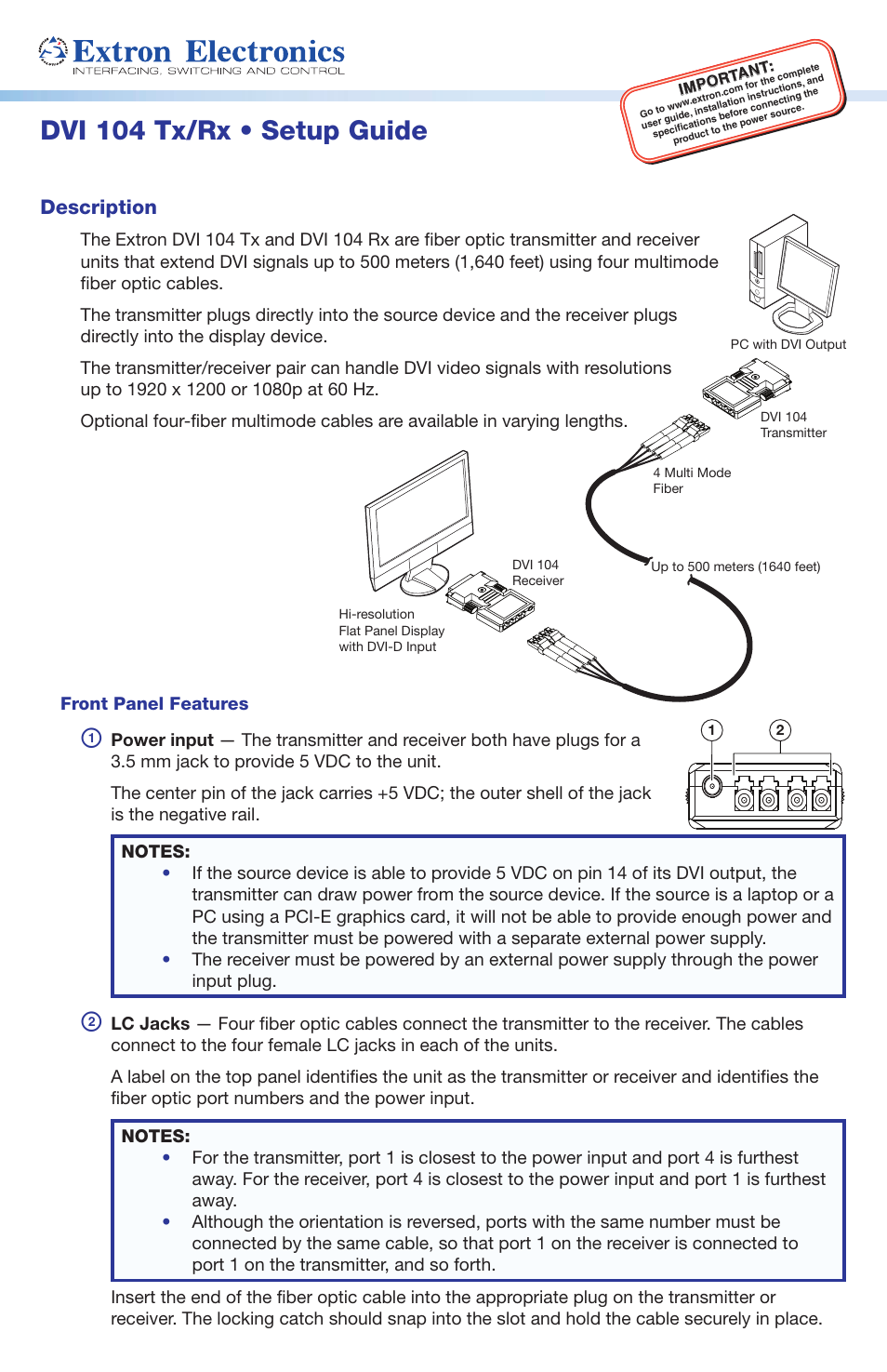 Extron Electronics DVI 104 Tx_Rx Setup Guide User Manual | 4 pages