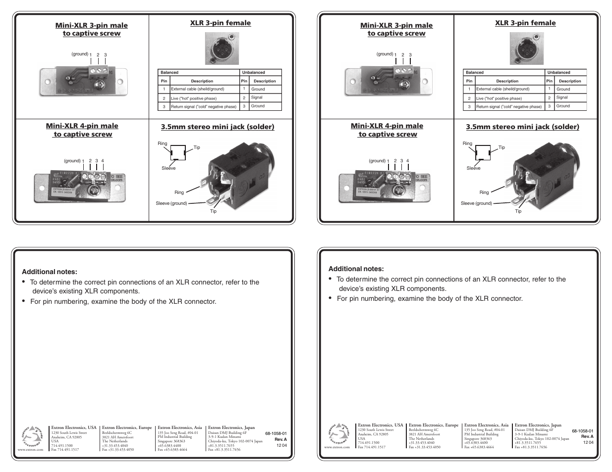 Extron Electronics Aap Wiring Guide 68 1058 01 User Manual 1 Page Diagram Further For Xlr To 4 Stereo Jack