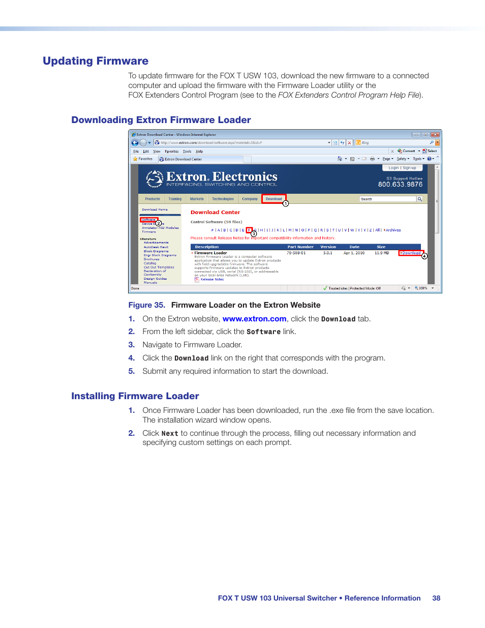 Updating firmware, Downloading extron firmware loader, Installing