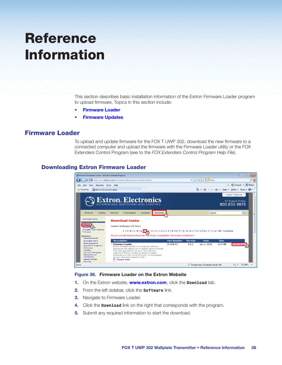 Reference information, Firmware loader, Downloading extron firmware