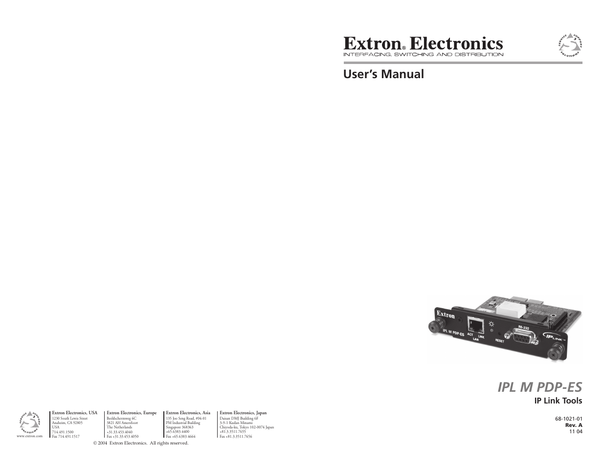 Extron Electronics IPL M PDP-ES User Guide User Manual | 36 pages
