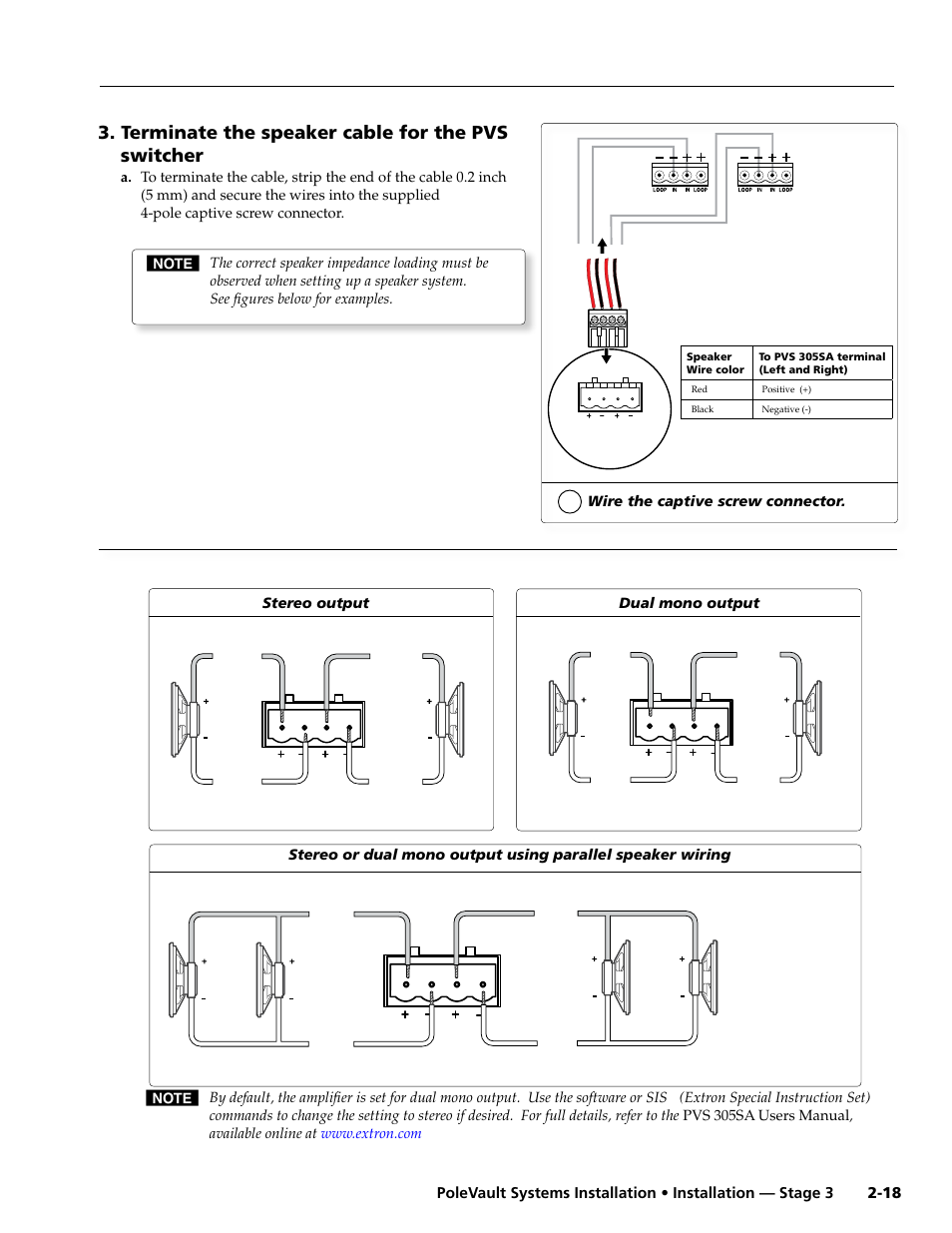 Terminate The Speaker Cable For Pvs Switcher Extron Wiring Diagrams 4 8 Ohm Speakers Electronics Polevault Systems 305sa User Manual Page 29 46