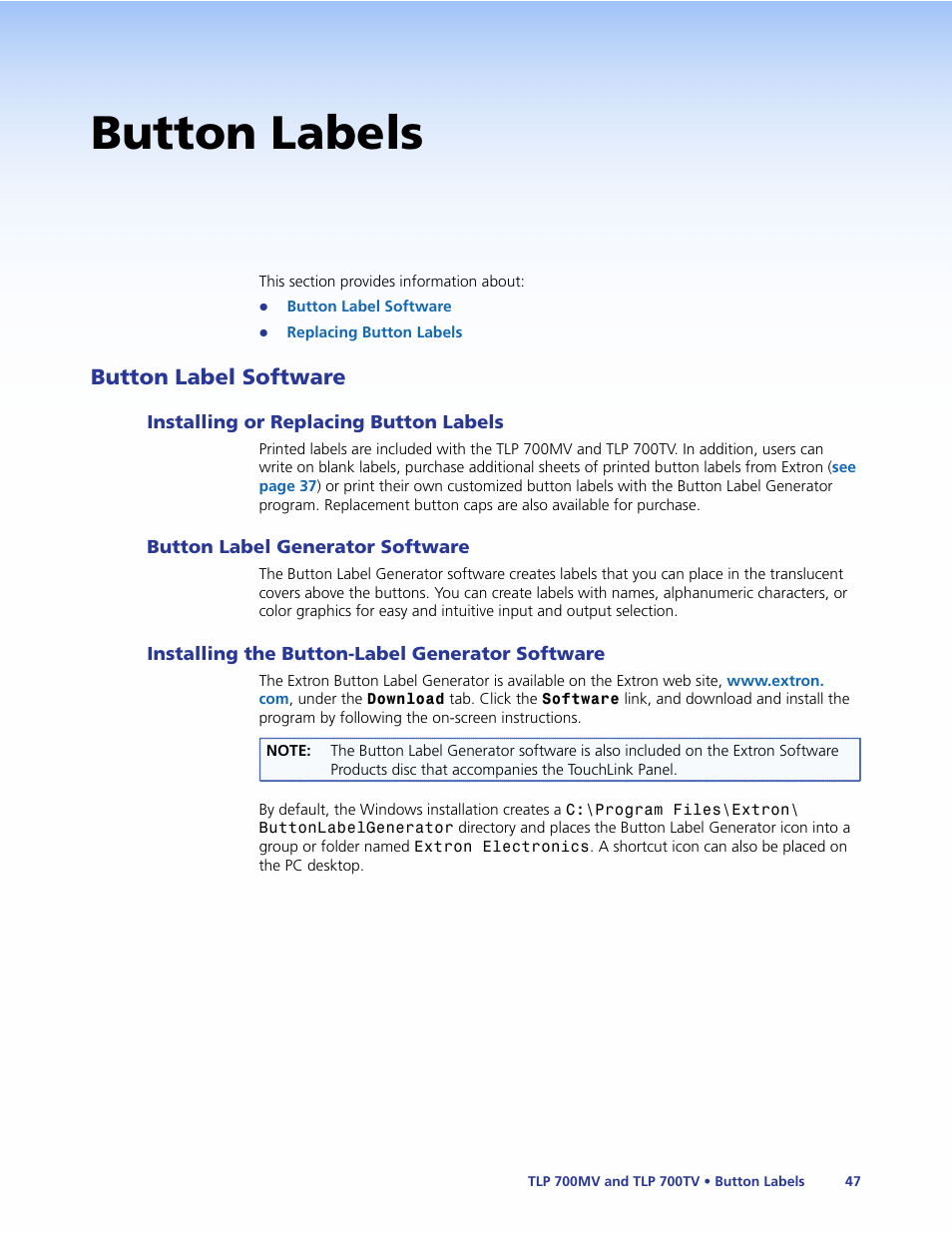 Button labels, Button label software, Installing or replacing button