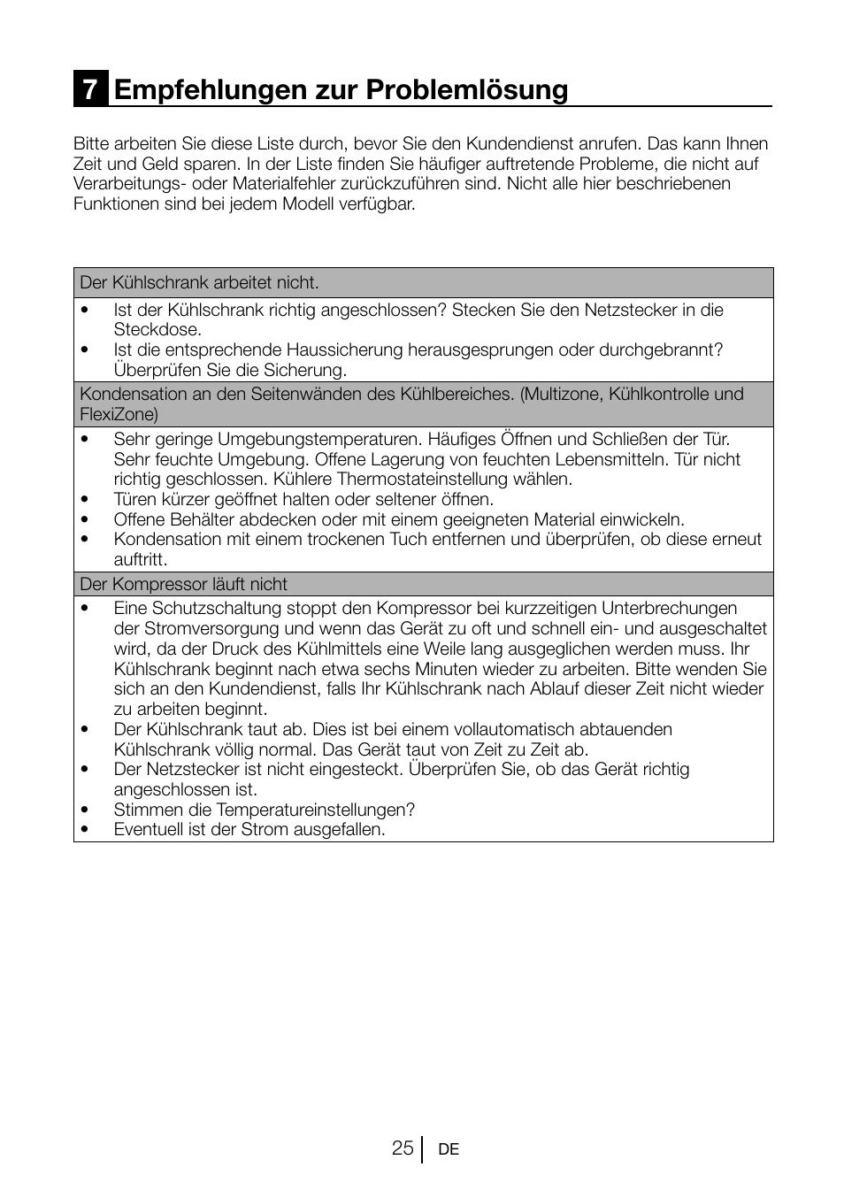 7empfehlungen zur problemlösung | Beko GNE V222 S User Manual | Page ...