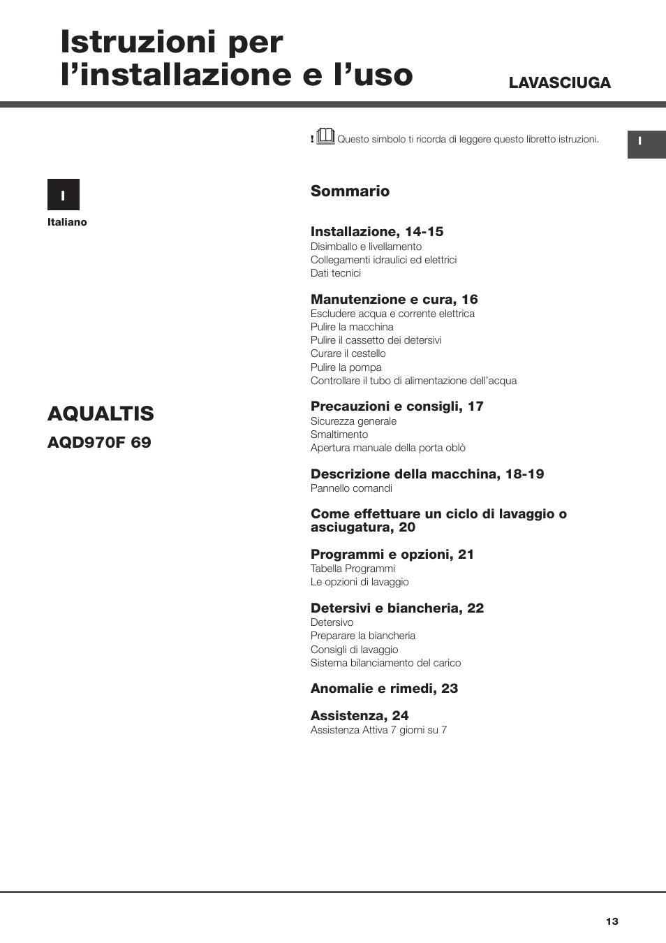 Istruzioni Per L Installazione E L Uso Aqualtis Hotpoint Ariston