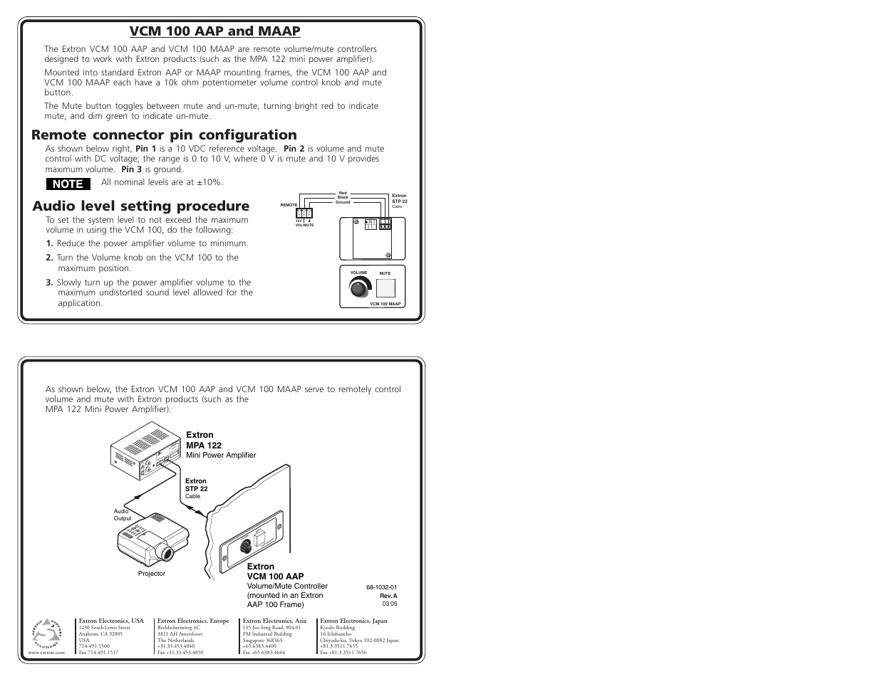 Extron Electronics VCM 100 AAP and MAAP User Manual | 1 page