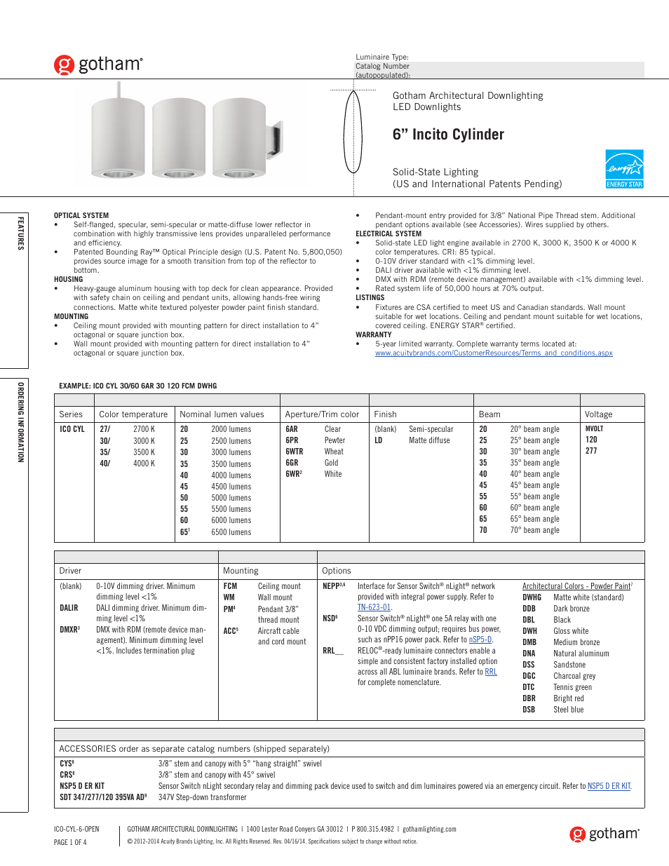 Gotham 6 Incito Cylinder SpecSheet User Manual 4 pages