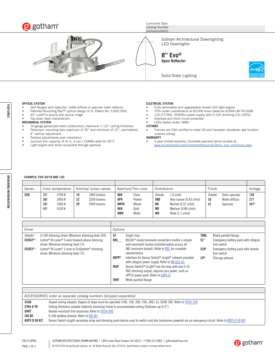 Gotham 8 Evo Open Reflector Specsheet User Manual 3 Pages 0 10v Dimming Wiring Diagram Led Downlight